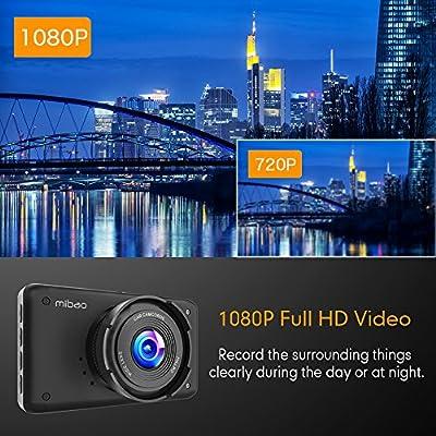 Mibao C/ámara de Coche Dash CAM 1080P Full HD 170/°/Ángulo C/ámara para Coche LCD de 2,45 G-Sensor WDR 6GLens Detecci/ón de Movimiento Grabaci/ón en Bucle HDR con Visi/ón Nocturna