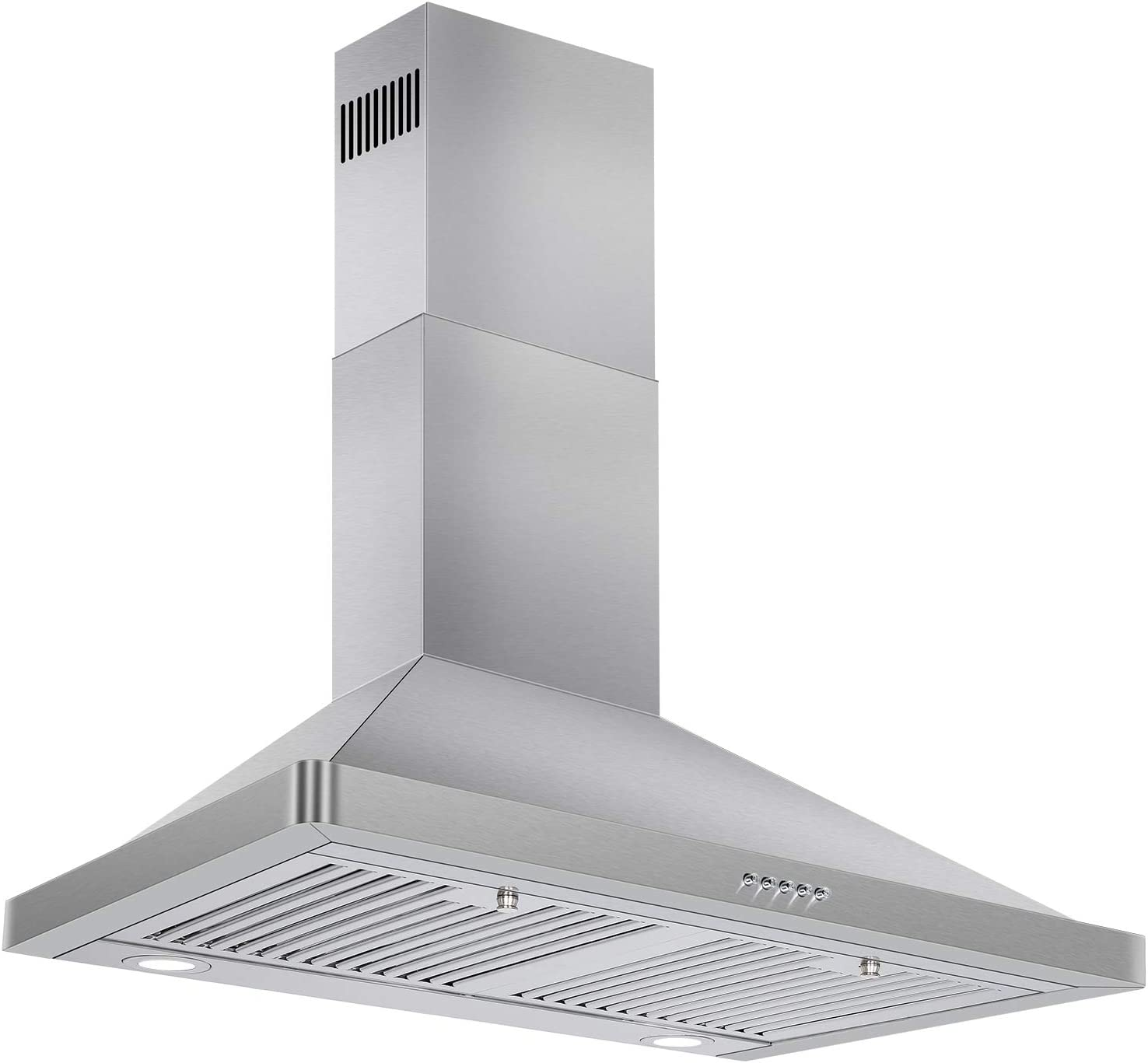 Permanent Filters LED Lights 3-Speed Exhaust Fan 30in Kitchen Hood with 900 CFM Efficient Airflow Chimney-Style Stove Vent in Stainless Steel Hykolity Wall Mount Range Hood Ducted