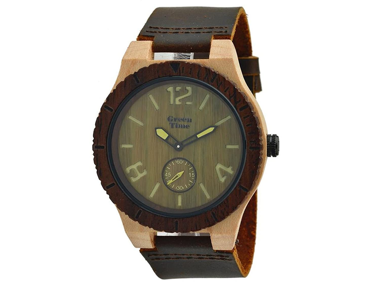 Greentime Armbanduhr aus Holz Sandelholz und Ahorn zw024b