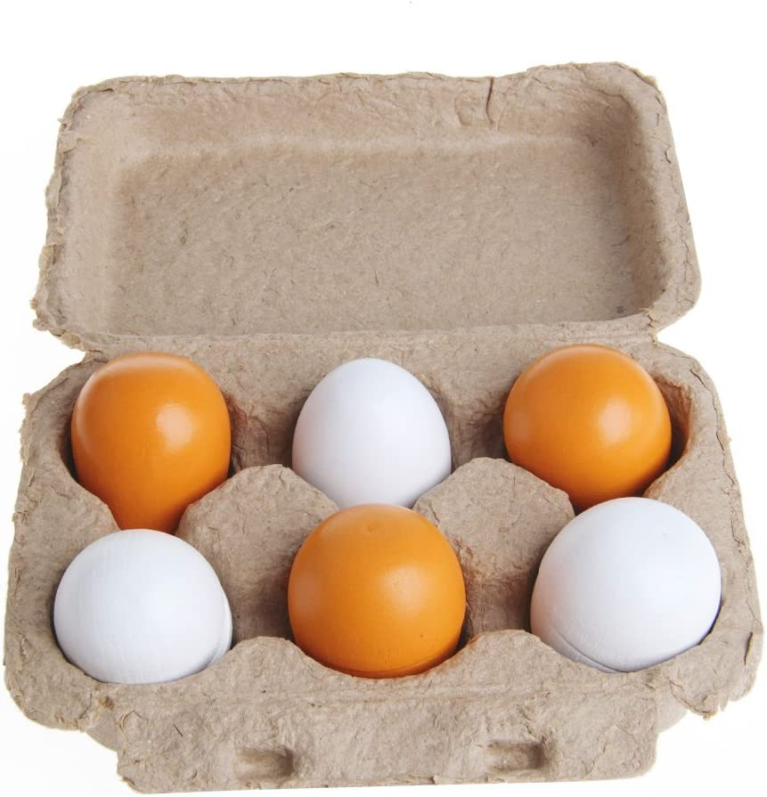 GOGORHEA 6pcs Wooden Eggs Yolk Pretend Play Kitchen Food Cooking Kid Child Toy Gift Set