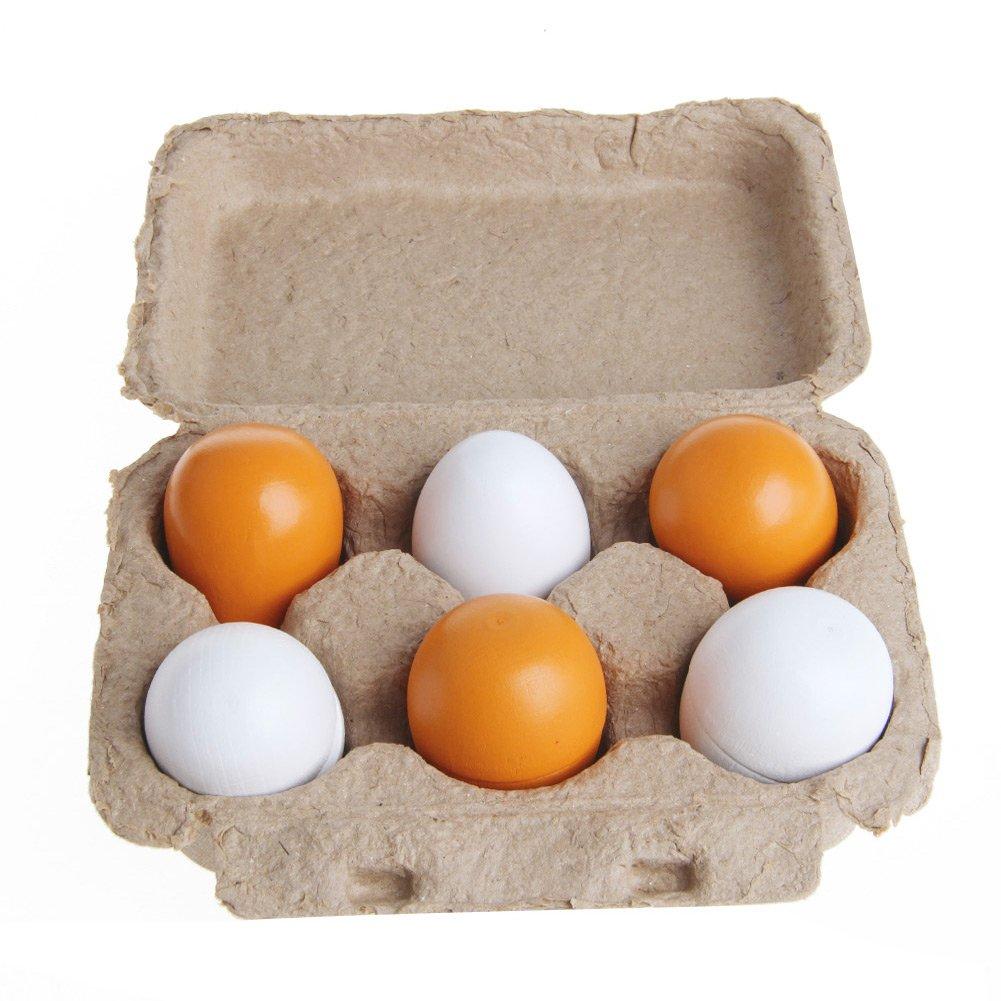 Dabixx Pretend Play Toy, 6Pieces Wooden Eggs Yolk Pretend Play Kitchen Food Cooking Kid Child Toy Gift Set