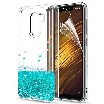 LeYi Funda Xiaomi Pocophone F1 Silicona Purpurina Carcasa con HD Protectores de Pantalla, Transparente Cristal Bumper Telefono Gel TPU Fundas Case ...