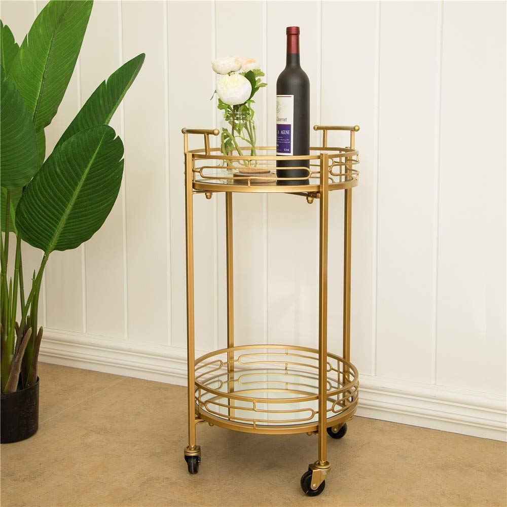 Glitzhome 27'' H Round Gold Bar Carts on Wheels 2-Tier Deluxe Metal Mirrored Glass Top Serving Cart by Glitzhome