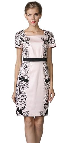 YACUN Women's Floral Printed Short Sleeve Office Sheath Dress