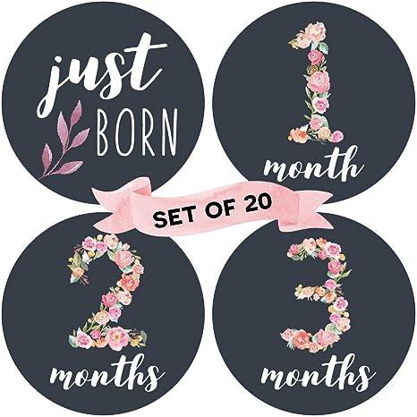 Bebé Mensual hito pegatinas (Juego de 20) – nacimiento a 12 meses + 7 Bonus logro pegatinas: Amazon.es: Bebé