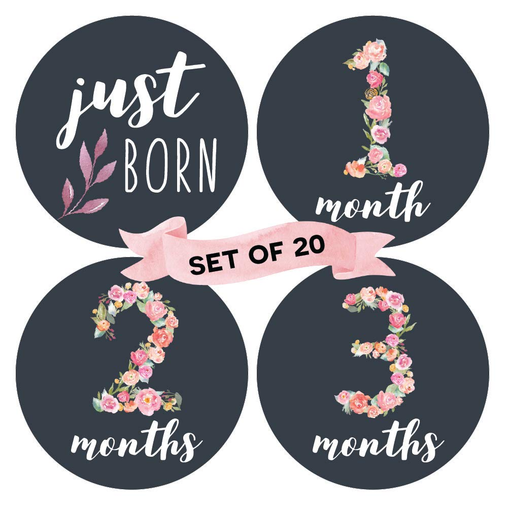 Floral Baby Monthly Milestone Stickers (Set of 20) - Birth to 12 Months + 7 Bonus Achievement Stickers by Peachly
