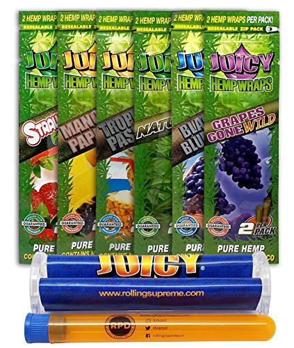 Bundle - 8 Items - Juicy Flavored Hemp Wraps Sampler (6 Flavors) with Juicy Wrap Roller and Rolling Paper Depot Kewl Tube