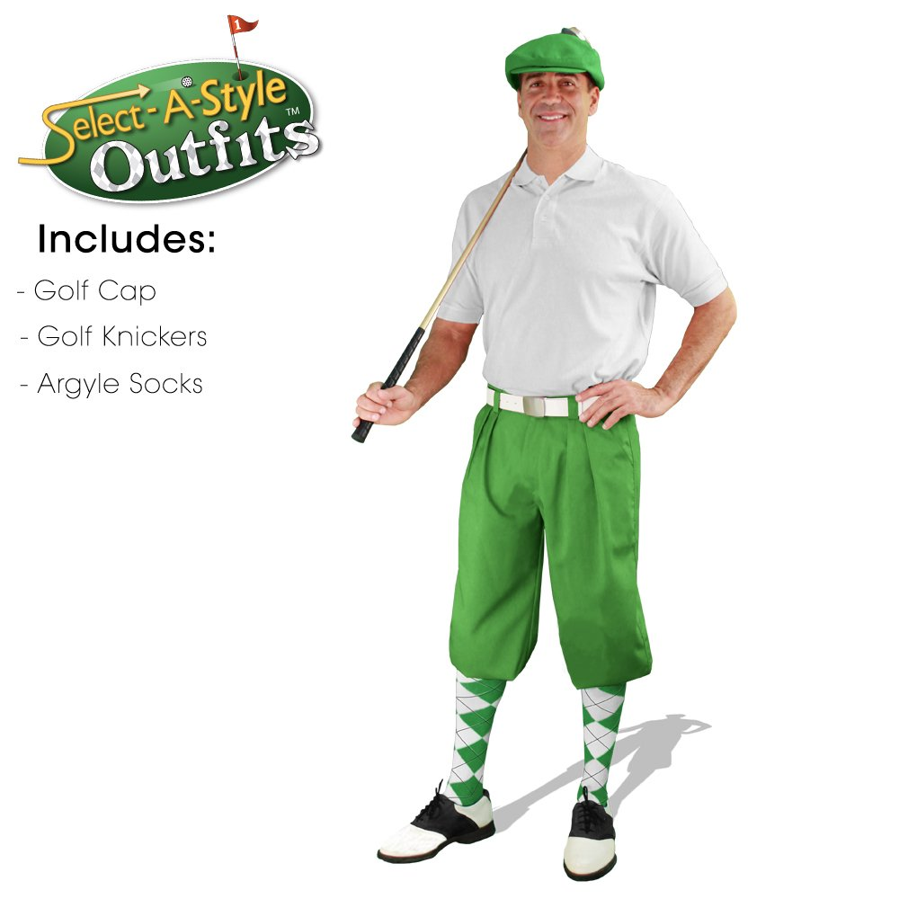 Mens Select-A-Style Golf Knicker Outfit - Lime - Waist 38 - Sock - LM/WH