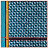 Lake Blue Men's Twill Silk Luxury Plaids Square Scarf Business Gift Tie-Scarves 39'' 39''