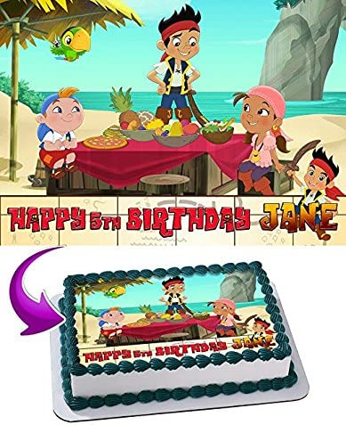 Marvelous Amazon Com Jake And The Never Land Pirates Edible Cake Topper Personalised Birthday Cards Fashionlily Jamesorg