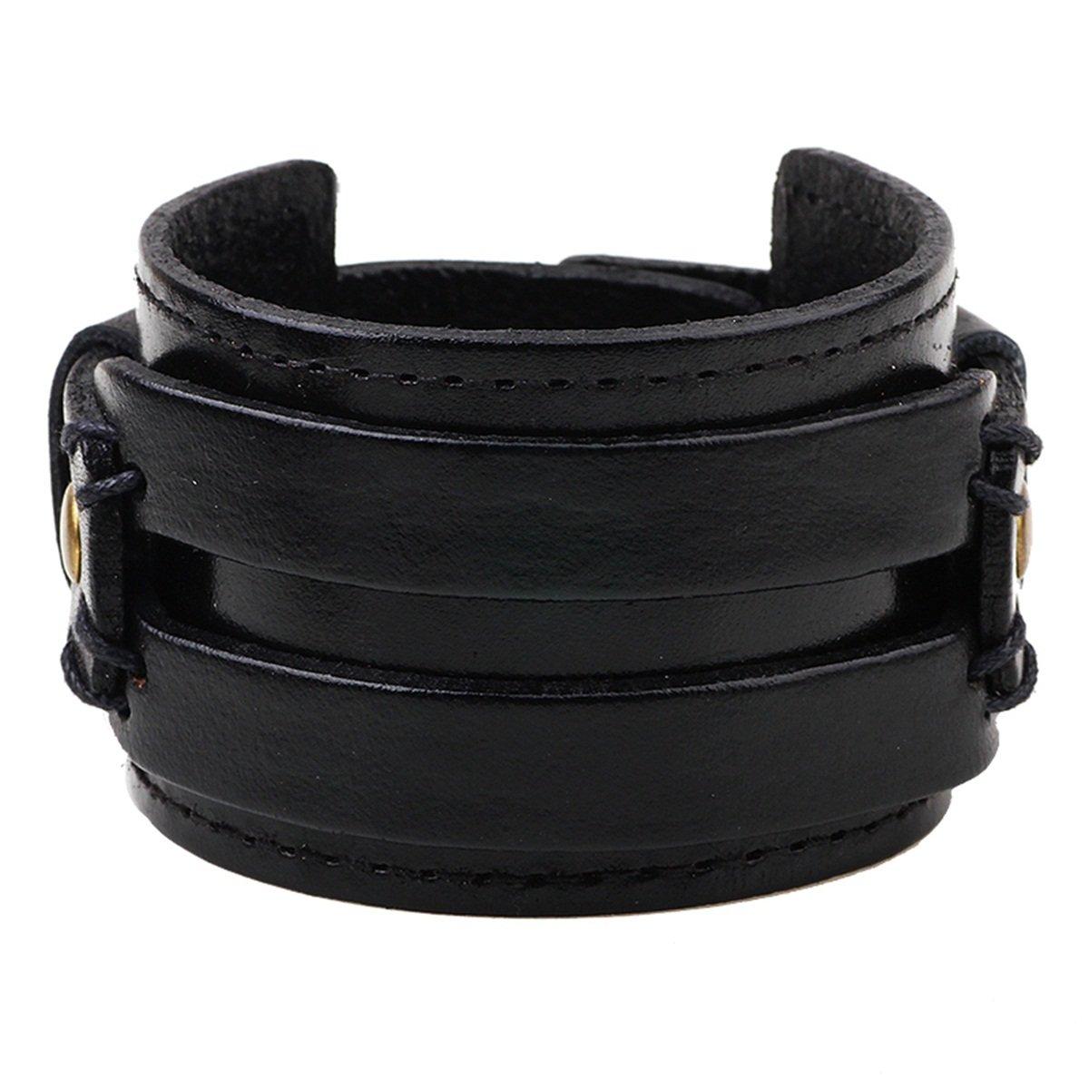 KY Jewelry Spike Studded Rivet Punk Rock Biker Wide Strap Leather Bracelet Chain Wristband Adjustable kuoyue KYV000AK8Y1W