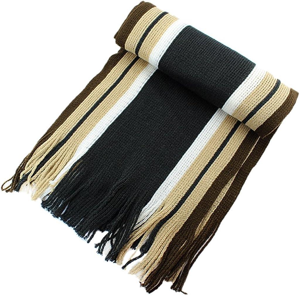 BONAMART /® Winter Scarves Men Artificial Wool Scarf Tassels Scarf Long Striped Knit Shawl