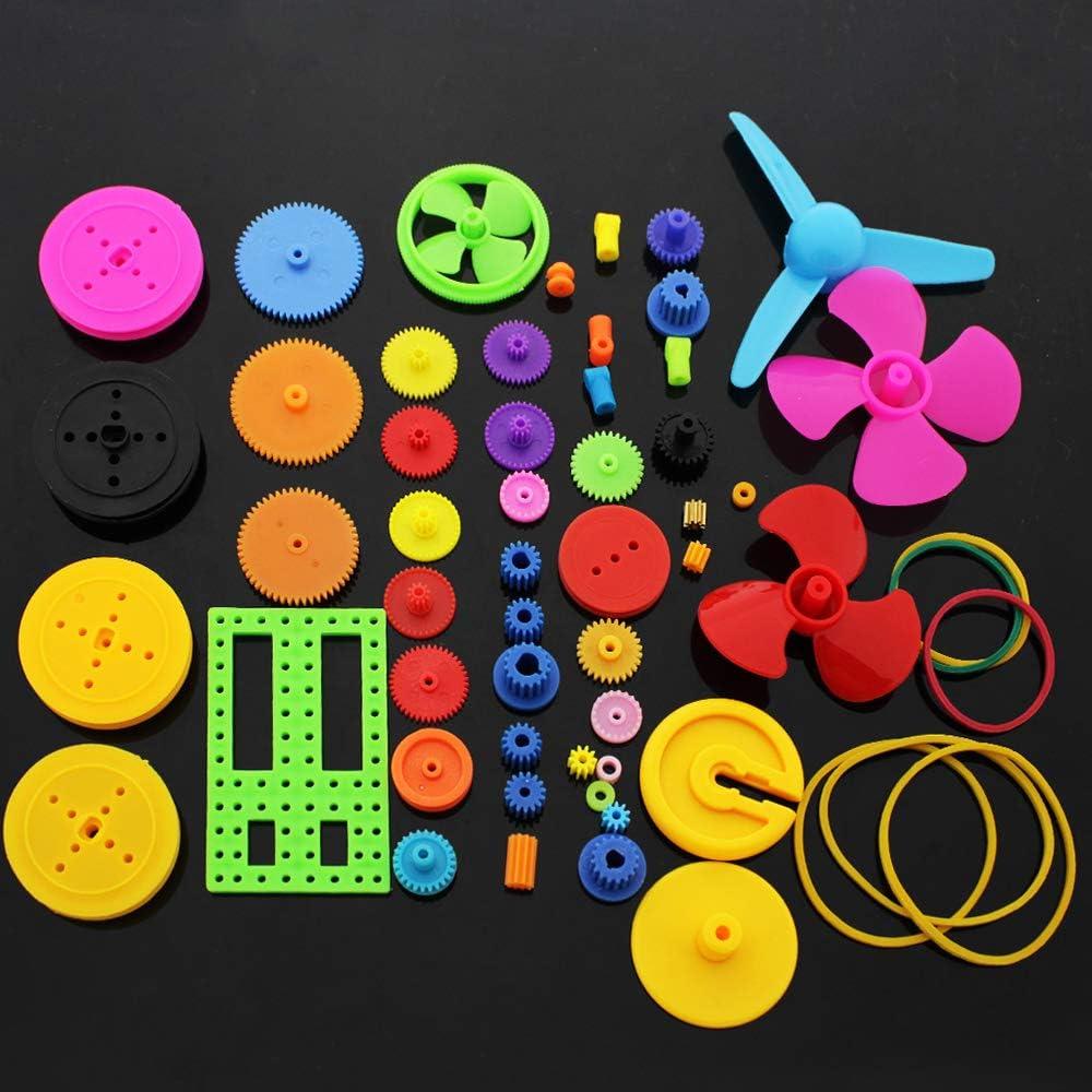 SPTwj Palas de hélice de Engranajes de plástico Set 55 Piezas Engranaje de Doble reducción Simple Engranaje helicoidal Robot Helicóptero Piezas de automóvil Kit