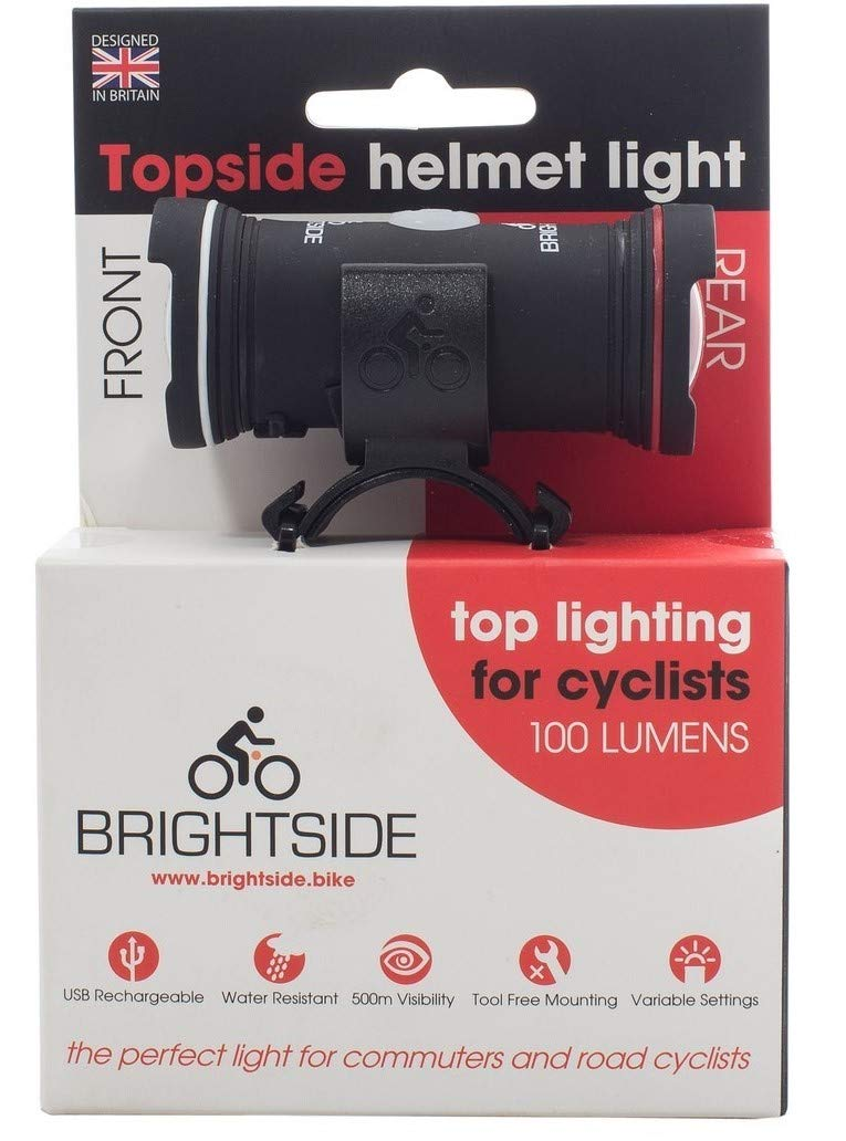 Topside Helmet Light. Bright 100 Lumen Dual Front and Rear Light. Waterproof, Rechargeable, 60 Grams and fits Most Helmets. Brightside TS001