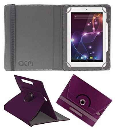 Acm Rotating 360 Leather Flip Case Compatible with Lava Ivory Xtron Z704 Tablet Cover Stand Purple Tablet Bags, Cases   Sleeves