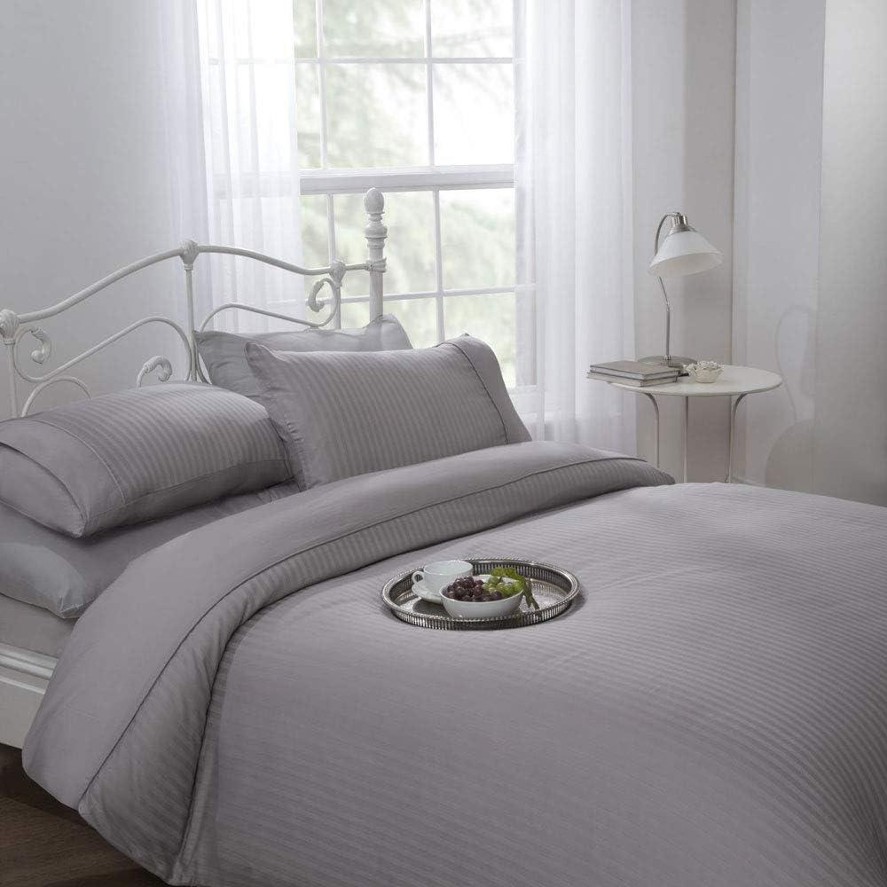 Cubre Edredón Funda Nórdica Color Plata diseño de rayas 100% algodón 300hilos- Tamaño Individual: 140x200 cm