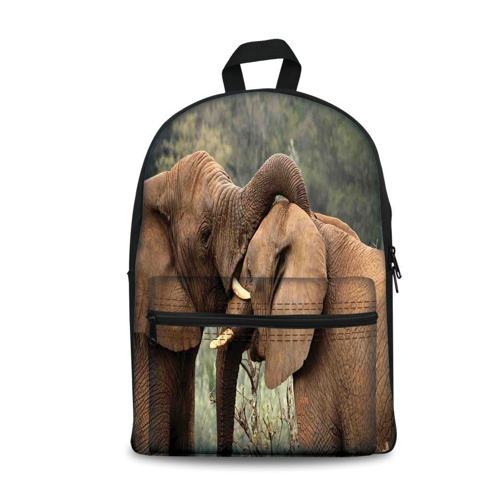 Design the fashion fo Kids Back to School Backpack, Canvas Book Bag,Safari Decor,Two Wild Savanna Elephants Wrestling Cute Nature Icons South African Animals Game Photo,Brown Green.