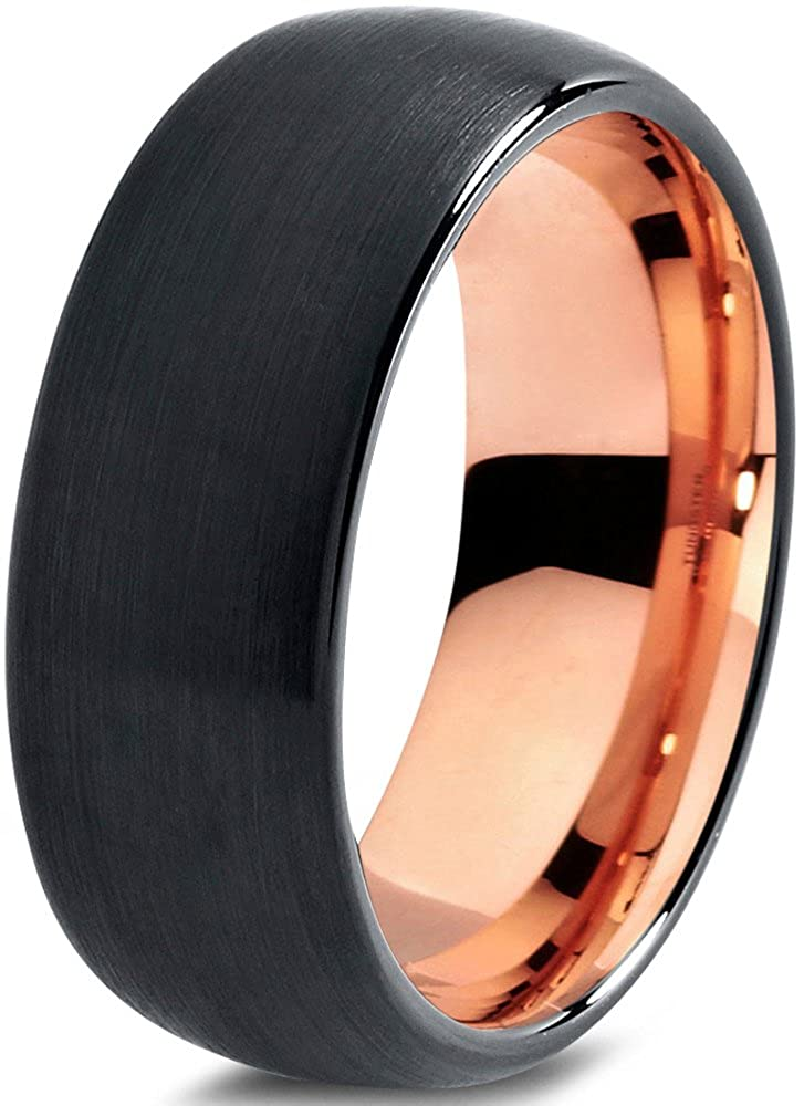 Midnight Rose Collection Tungsten Wedding Band Ring 8mm for Men Women Black & 18K Rose Gold Plated Domed Brushed Polished Charming Jewelers CJ-705-8