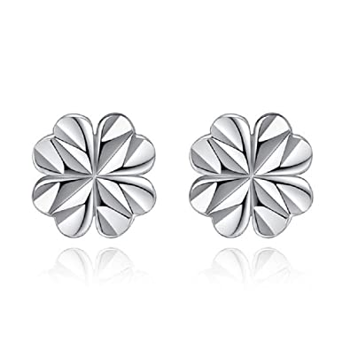 f318ebc20 Image Unavailable. Image not available for. Color: Sterling Silver  Four-Leaf Clover Small Stud Earrings