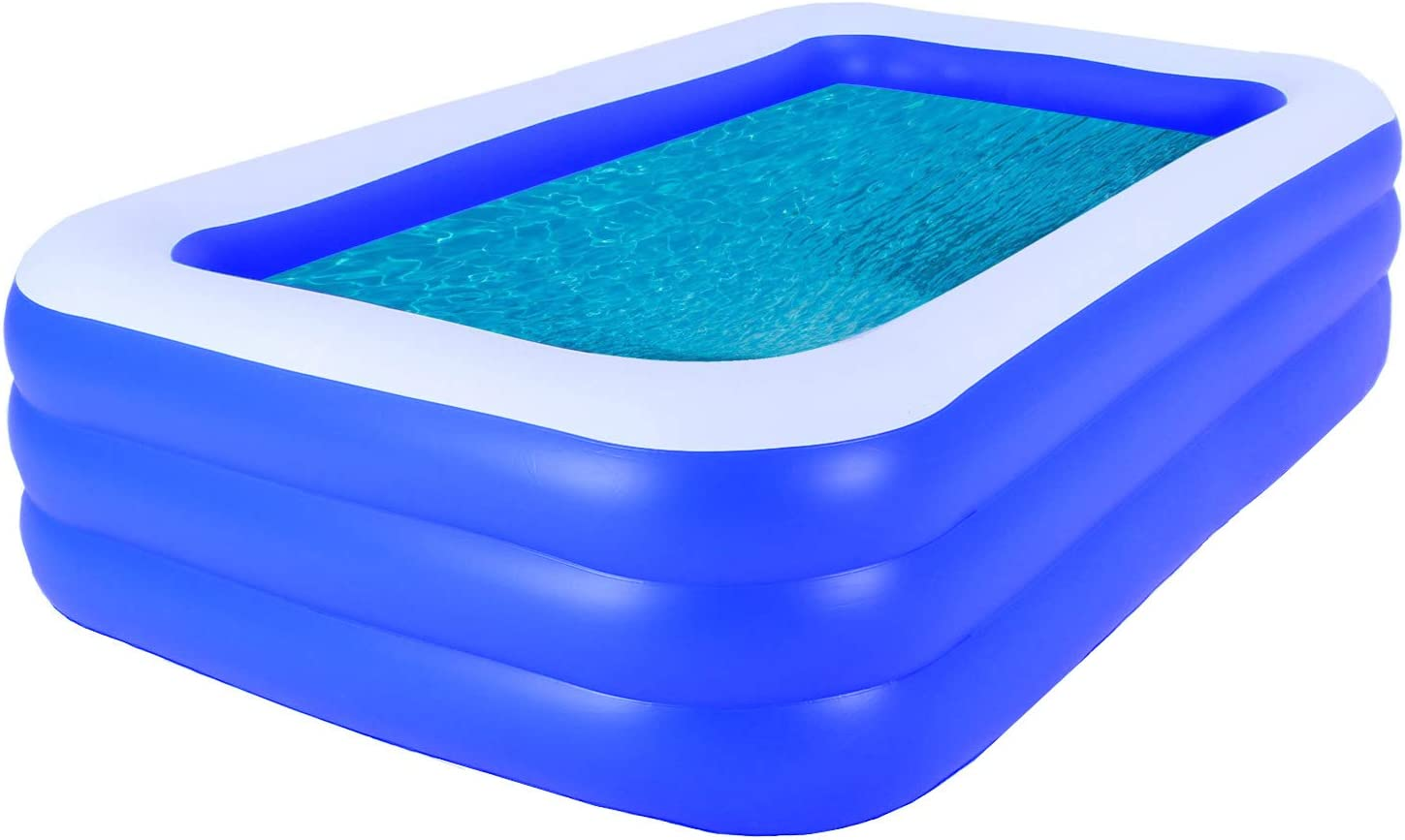 Family Inflatable Swimming Pool, 102''x69''x24'' Full-Sized Inflatable Lounge Pool for Kids, Adults, Toddlers for Ages 3+, Blow Up Kiddie Pools for Family, Outdoor, Garden, Backyard, Above Ground Pool