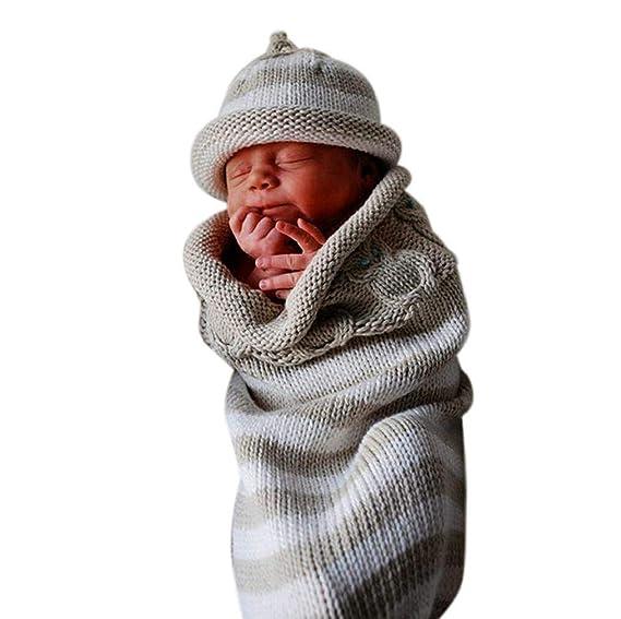 Zeside - Saco de Dormir para bebé, Manta de Crochet para bebé recién Nacido, bebé, niña, bebé, niña, Envolver fotografía para 0 - 8 Meses, Gris, ...