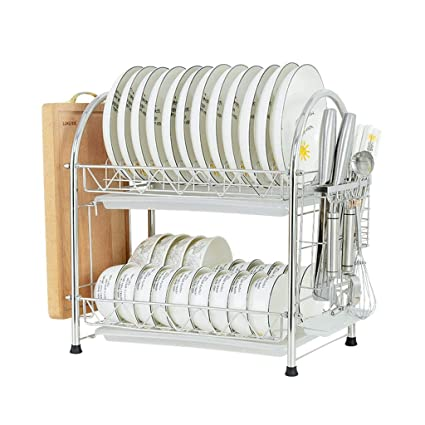 LAXF- Soporte de Utensilios para bastidores de Platos Cocina Grande  Escurridor de Platos de 2 1ea52ba234ec