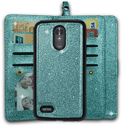 Ymhxcy LG Stylo 3 Wallet Case, LG Stylo 3 Plus Case,LG Stylus 3 Case,PU Leather [9 Card Slots][Detachable][Kickstand] Phone Case & Wrist Lanyard LG LS777-PT Mint by Ymhxcy (Image #1)