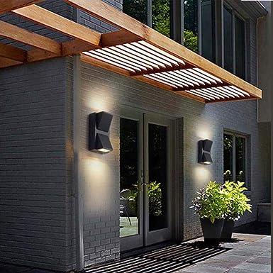 Luz de pared led moderna exterior impermeable negro iluminación de exterior luz de pared 220v pared exterior aplique de pared-up_down_light_Black_Cool_White (5500-7000K) _up_down_light_Black: Amazon.es: Iluminación