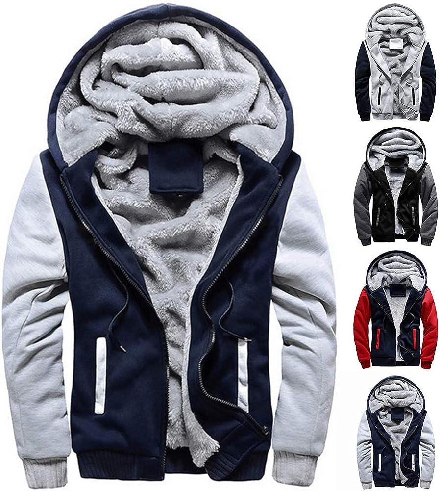Mens Hoodie Mens Jacket Zip Up Fleece Hoodies Winter Warm Coat Thickened Plushy Lining Sweatshirts