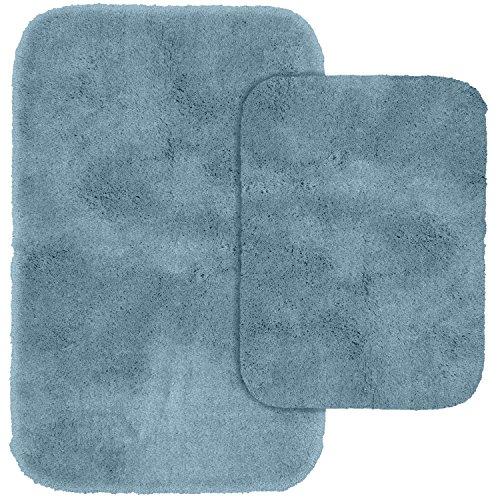Garland Rug 2-Piece Finest Luxury Ultra Plush Washable Nylon Bathroom Rug Set, Basin Blue