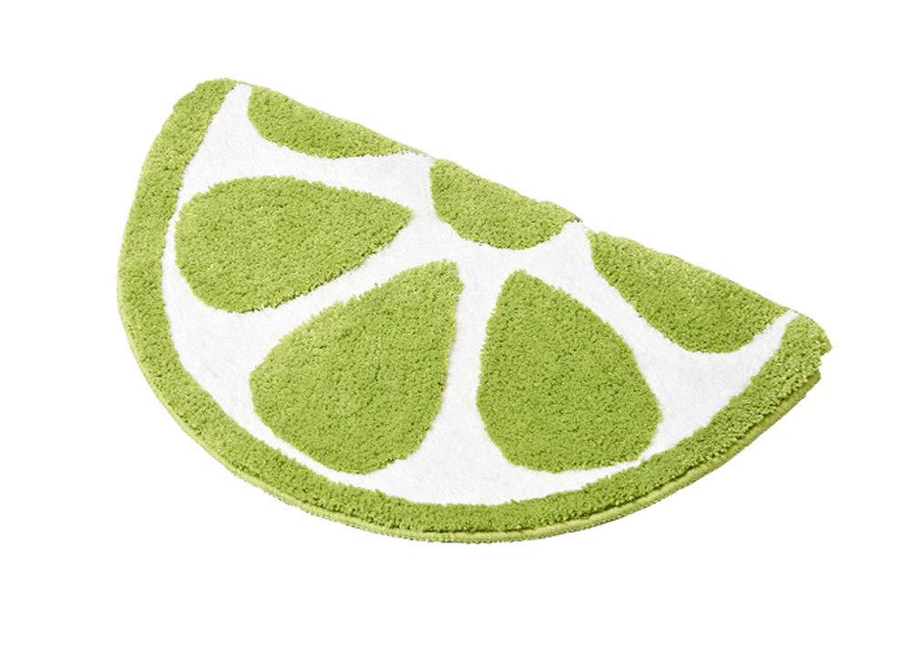 Baby Playtime Cozy Lemon Cute Fruits Half Round Shaped Bedroom Bathroom Doorway Kitchen Floor Rug Carpet Water Absorption Non-Slip mat for Kids Room (Green, 50x80CM)