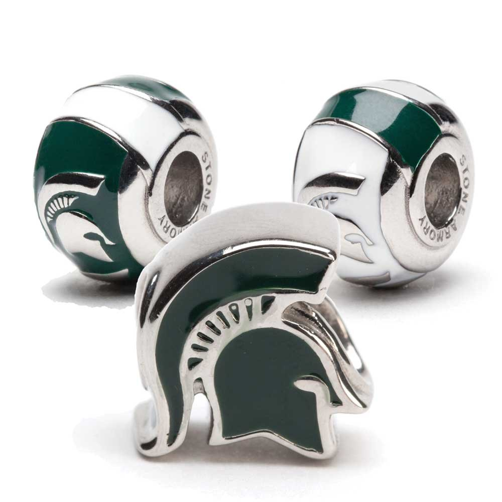 Michigan State Charms | Michigan State Spartan Helmet and 2 Bead Charms | Officially Licensed Michigan State University Jewelry | MSU Jewelry | Michigan State Gifts | Stainless Steel