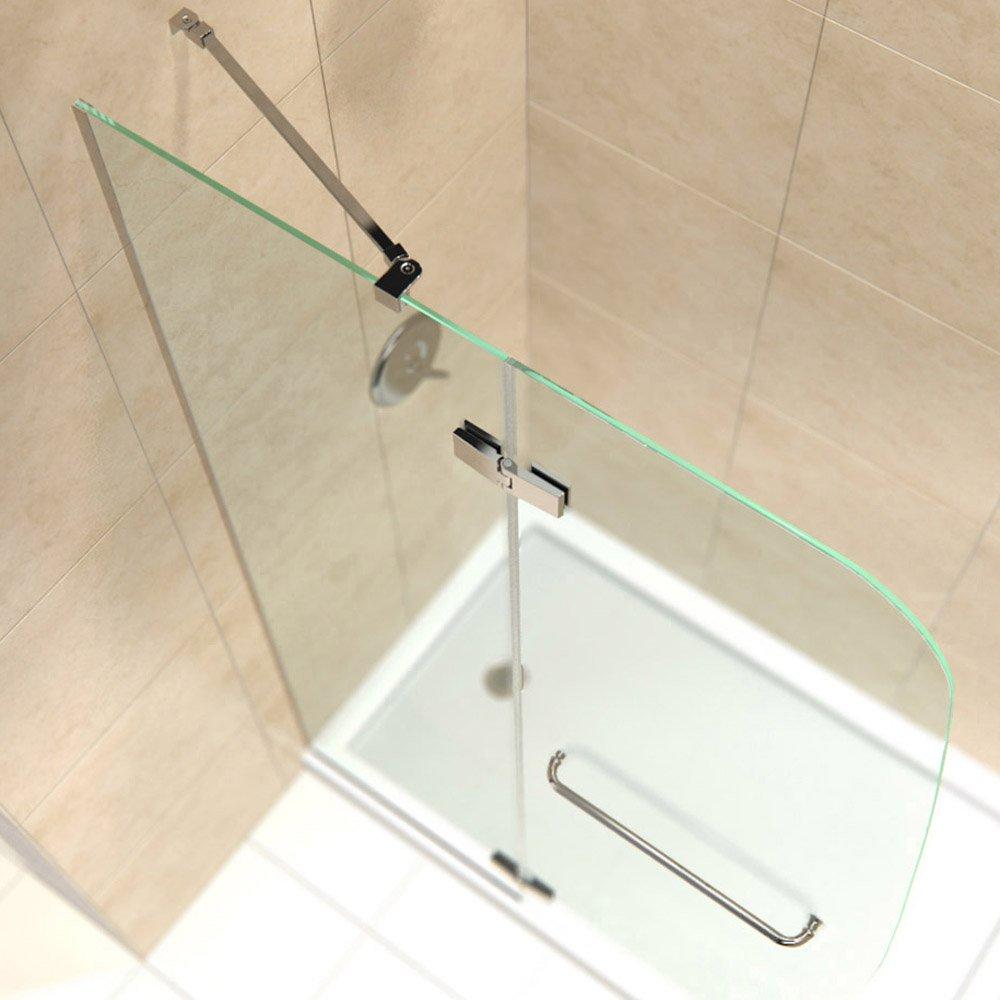 DreamLine Aqua Ultra 45 in. W x 72 in. H Frameless Hinged Shower Door in Brushed Nickel, SHDR-3445720-04 by DreamLine (Image #4)