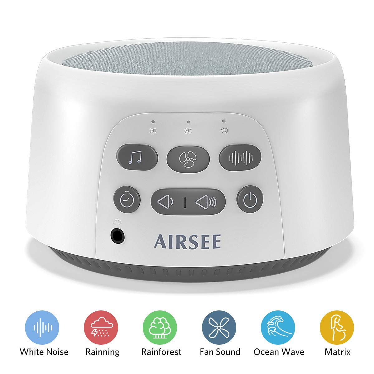 AIRSEE White Noise Machine - Portable Sound Machine with 24 Non-Looping Soothing Sounds for Sleeping, Sleep Sound Therapy for Kids, Adults and Travel by AIRSEE