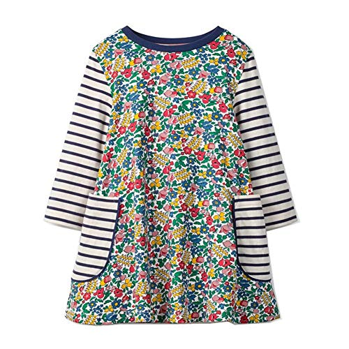 HILEELANG Toddler Girl Floral Dress Stripe Long Sleeve Spring Winter Cotton Basic Dress -