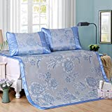 Zhiyuan Folding Non-Slip Peony Silky Synthetic Rattan Cooling Summer Sleeping Mat Pillowcases Set,Queen,Light Blue