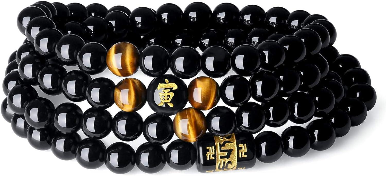 COAI® Pulsera Collar de Ojo de Tigre Tibetano y Ónice Negra Mala para Muñeca de 15cm a 17.5cm