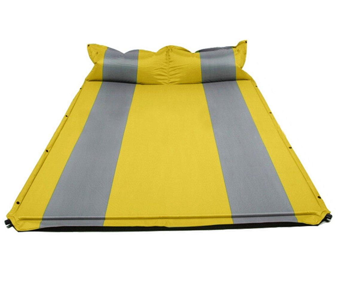 QEL Doppelt Multifunktional Automatische aufblasbares Kissen Kissen Combo Camping Feuchtigkeit Pad Gelb Blau Grün 188  132  3 cm
