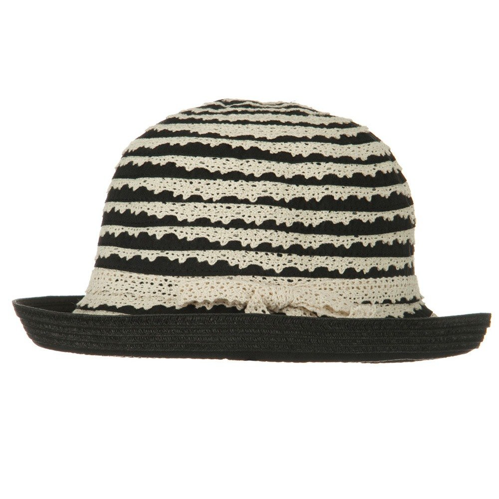 Jeanne Simmons Womans Ribbon Lace Braid Hat Black