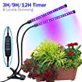 [2018 Upgraded] Timing Function Grow light with 36 LED Dual head with 8 Dimmable Levels Grow Lamp Bulbs Adjustable 360 Degree Gooseneck for Indoor Plants Hydroponics Greenhouse Gardening
