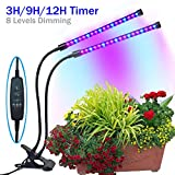 indoor grow light bulb - YYTECH [2018 Upgraded] Timing Function Grow light with 36 LED Dual head with 8 Dimmable Levels Grow Lamp Bulbs Adjustable 360 Degree Gooseneck for Indoor Plants Hydroponics Greenhouse Gardening
