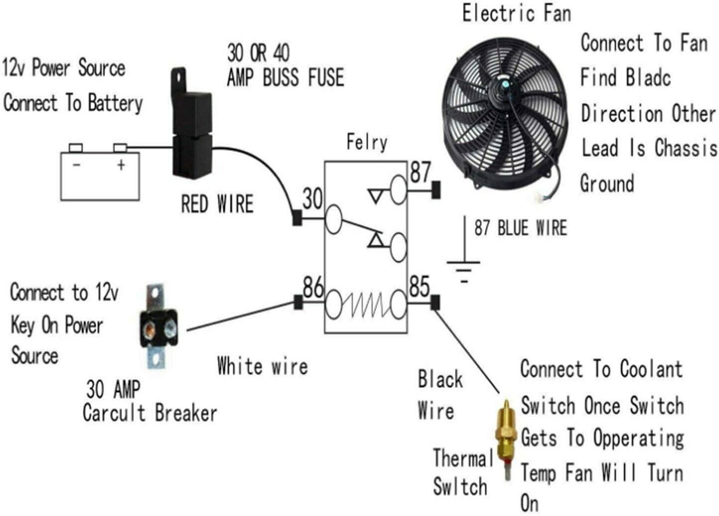 Works On Single Dual Fans Pre Set Chevy Nova Radiator Fan Relay Wiring Kit
