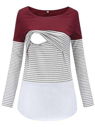 d809b45a3f33a Liu & Qu Women's Maternity Lace Striped Nursing Tops Long Sleeve Stitching Breastfeeding  T-Shirt at Amazon Women's Clothing store: