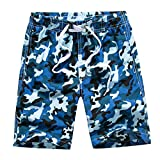 Echinodon Boys Swim Shorts Fast Dry Boardshorts Adjustable Waist Beach Shorts with Side Pockets for Swimming Surfing Blue