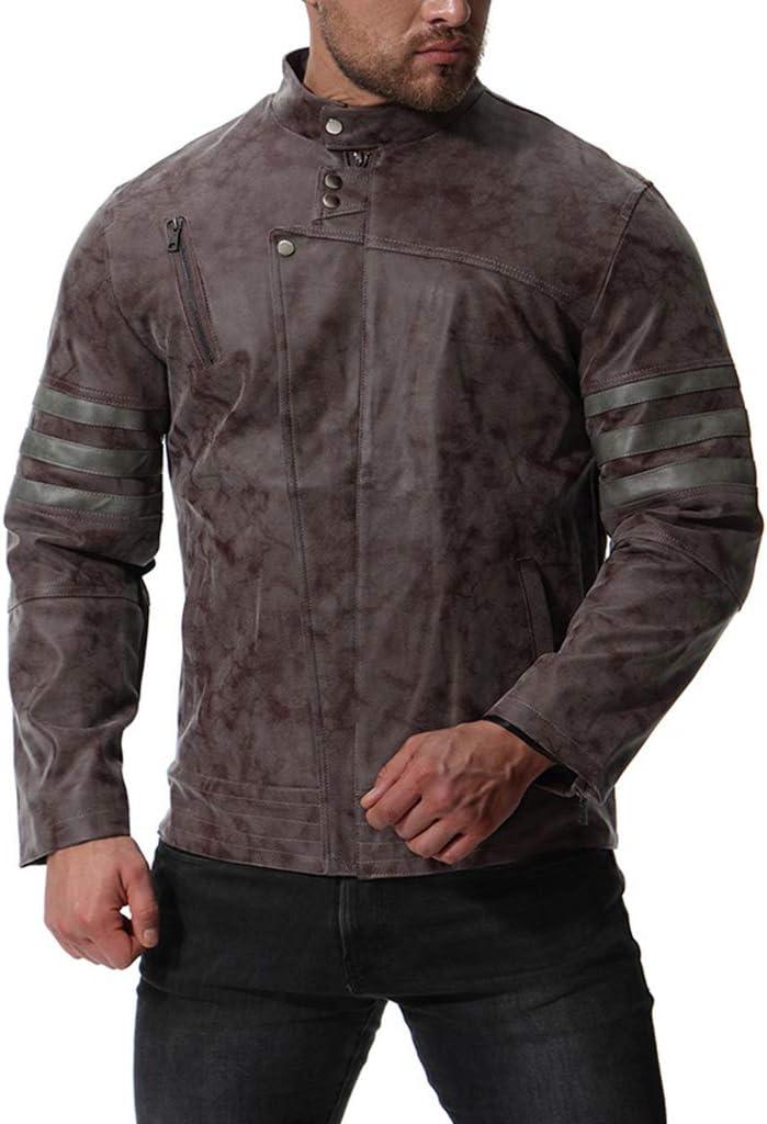 LIXIYU Chaqueta de Motorista de Cuero para Hombre Negro y marrón Chaqueta de Cuero desgastada de la Motocicleta de la Vendimia con Cremallera de Cuero Casual Elegante