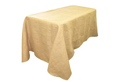 LA Linen Natural Burlap Rectangle Tablecloth, 90 By 156 Inch