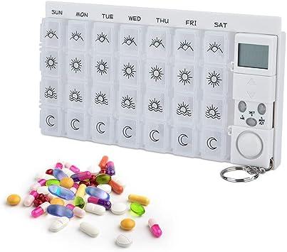 28 Grids semanal 7 días caja de pastillas Medicina Píldoras caja del organizador del LED temporizador tabletas recordatorio de s que lleva píldora reloj de alarma dispensador: Amazon.es: Salud y cuidado personal