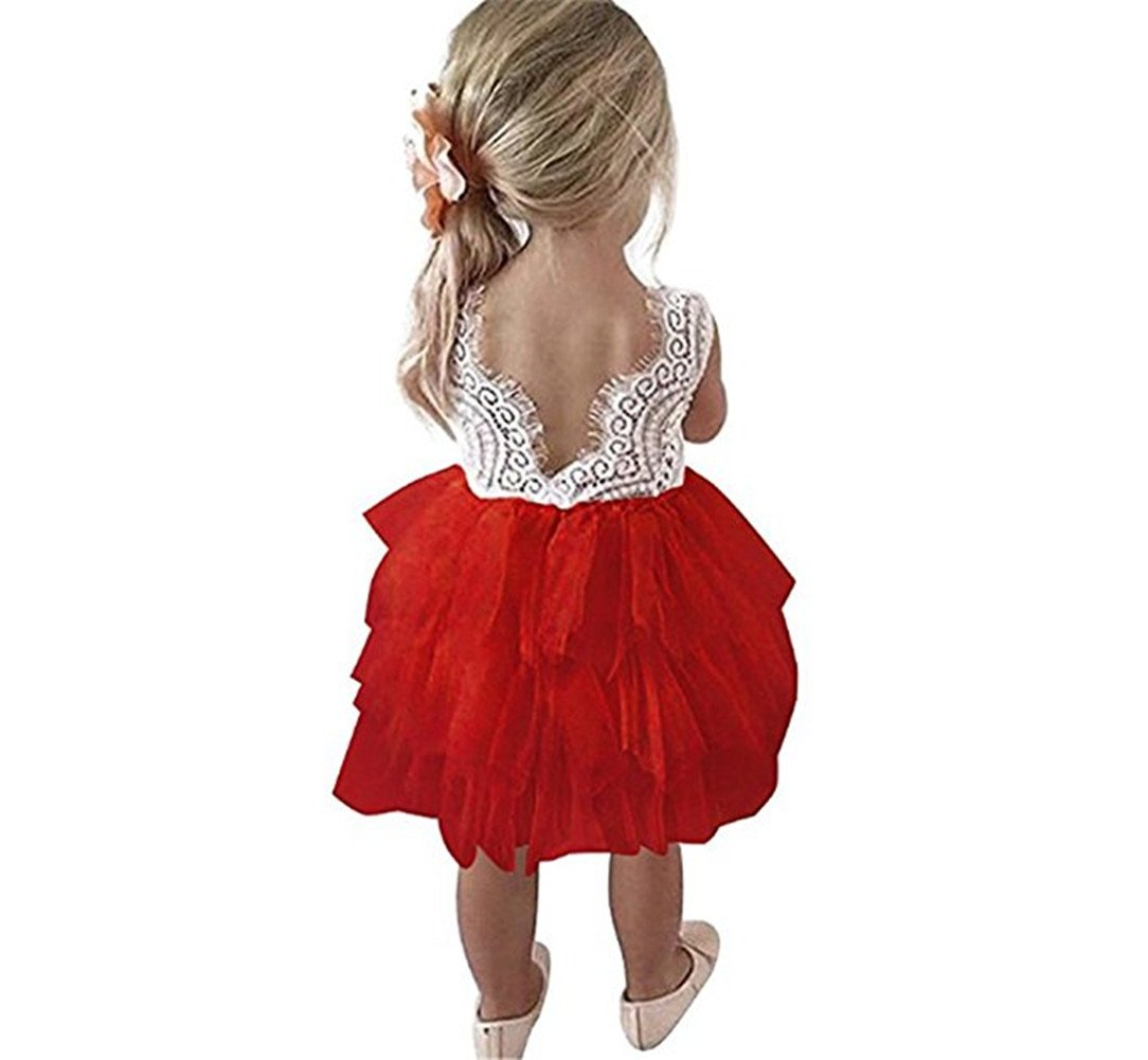 Colorfog Baby Girl Backless Lace Tutu Dress Flower Girl Wedding Party Dress (Red, 12 Months)