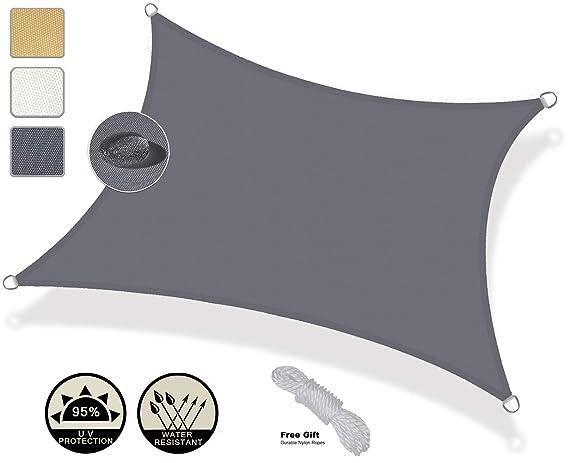 AXT SHADE Toldo Vela de Sombra Rectangular 3 x 4 m, protección Rayos UV Impermeable para Patio, Exteriores, Jardín, Color Gris: Amazon.es: Jardín
