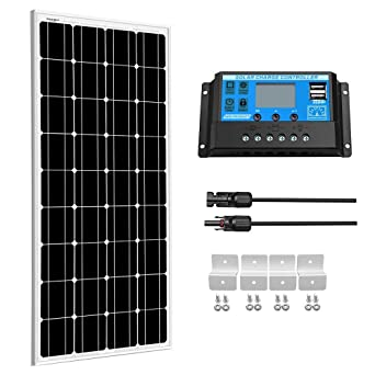 100W 12V Mono Solarpanel  Kit Modul /& 20A LCD USB Laderegler Wohnmobil